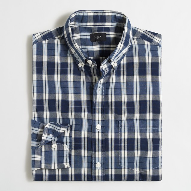 Washed shirt in multi-plaid