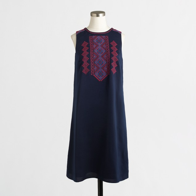 Embroidered-bib tunic dress