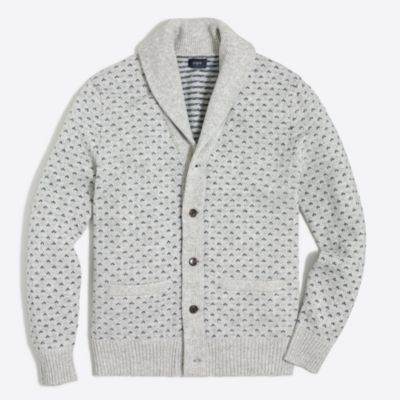 Lambswool nordic dot cardigan sweater