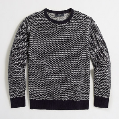 Lambswool colorblock herringbone sweater
