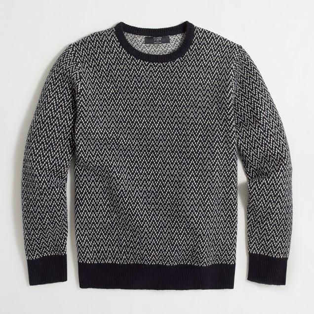Lambswool colorblock herringbone sweater