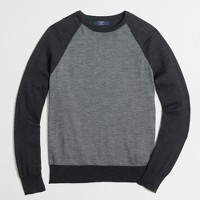 Merino wool baseball crewneck sweater