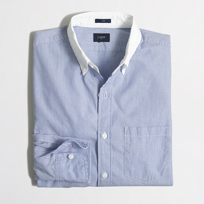 Slim washed white-collar shirt