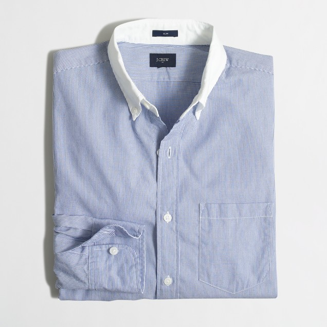 Slim washed white-collar shirt