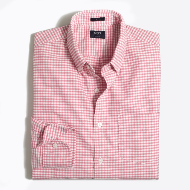 Slim plaid oxford shirt