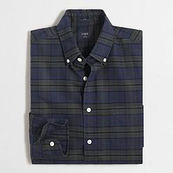 Factory slim plaid oxford shirt