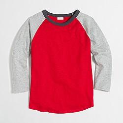 Boys' long-sleeve colorblock baseball T-shirt