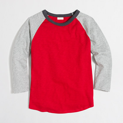 Boys' long-sleeve colorblock baseball T-shirt