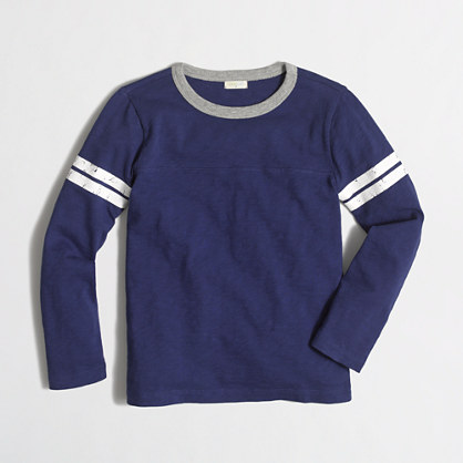 Boys' long-sleeve varsity T-shirt with contrast ringer