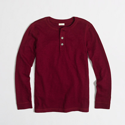 Boys' long-sleeve slub henley