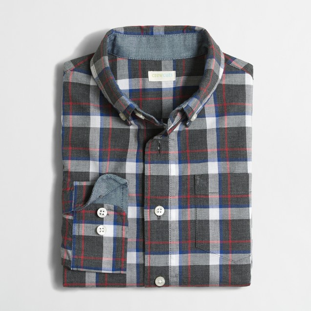 Boys' heathered poplin plaid shirt