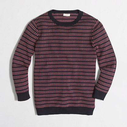 Three-quarter-sleeve grid-stitch sweater