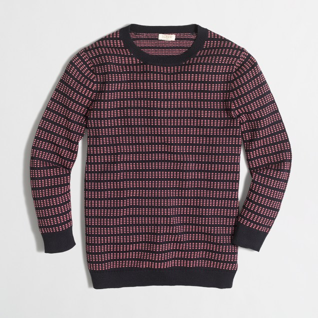 Three-quarter-sleeve grid-stitch sweater