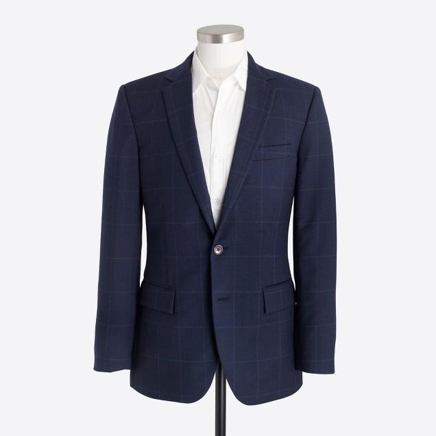 Thompson suit jacket in windowpane wool flannel