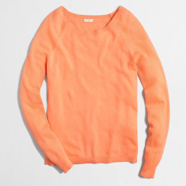 Pointelle-sleeve scoopneck sweater