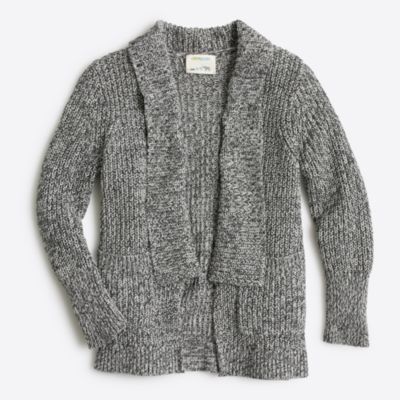 Girls' marled rib-stitch open cardigan sweater