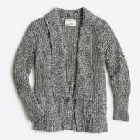 Girls' marled rib-stitch open cardigan sweater