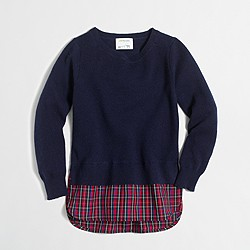 Girls' shirttail-hem sweater