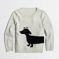 Girls' dachshund intarsia sweater