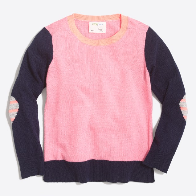 Girls' heart elbow-patch sweater