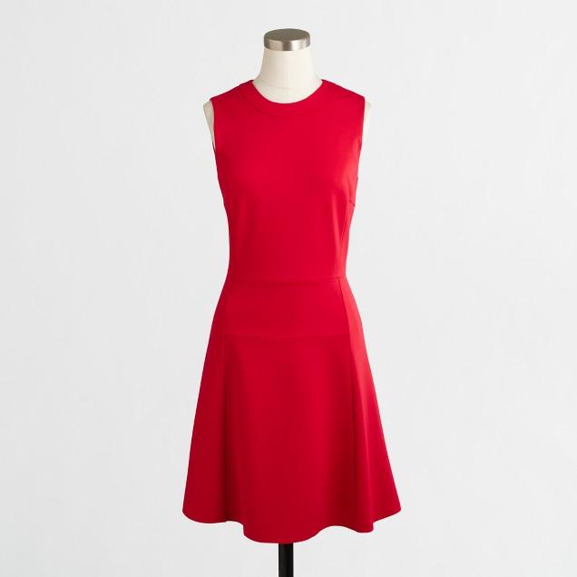 Petite sleeveless ponte dress