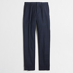 Slim Thompson suit pant in windowpane wool flannel
