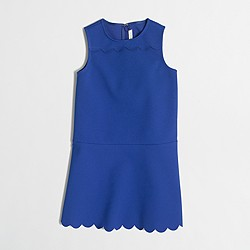 Factory girls' scalloped-hem fit-and-flare dress