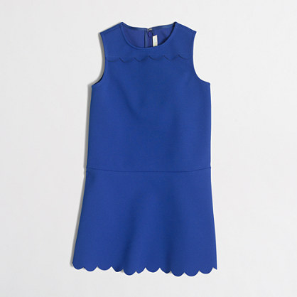Girls' scalloped-hem fit-and-flare dress