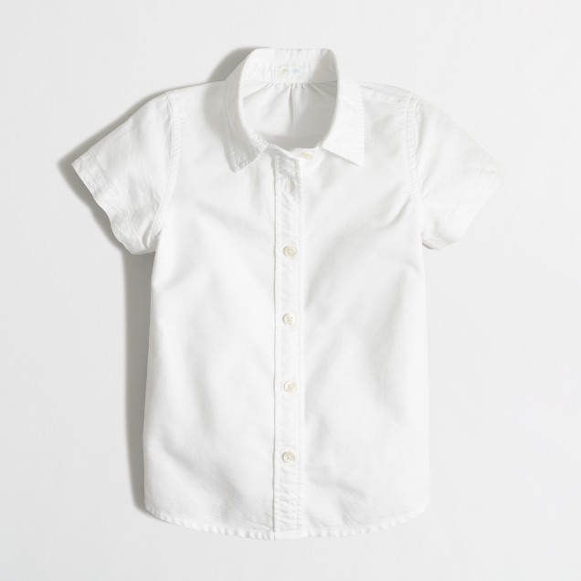 Girls' short-sleeve lightweight oxford shirt