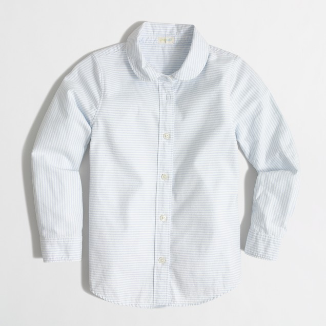 Girls' striped Peter Pan collar shirt