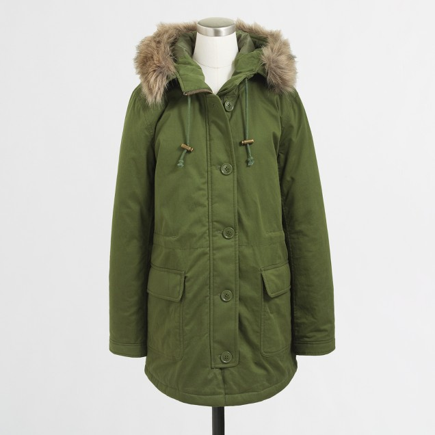 Cotton parka with faux-fur hood