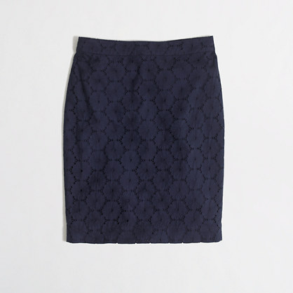 Floral eyelet pencil skirt