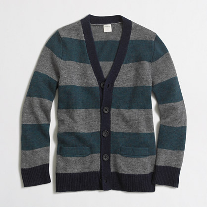 Boys' rugby-striped cardigan sweater