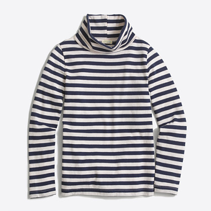 Girls' long-sleeve striped turtleneck