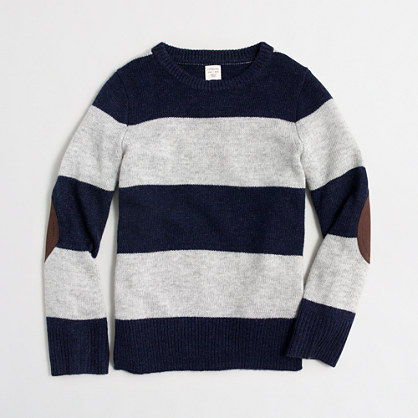 Boys' rugby-striped elbow-patch sweater