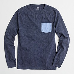 Slim long-sleeve contrast-pocket T-shirt