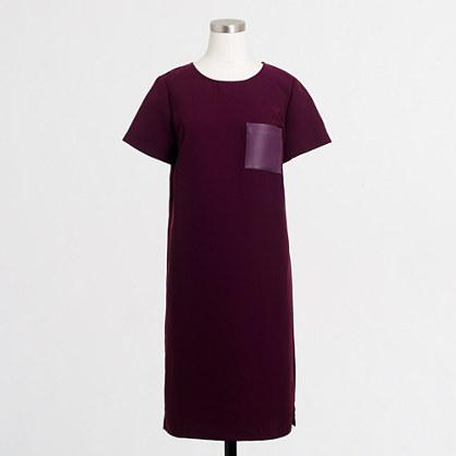 Leather-pocket tee dress