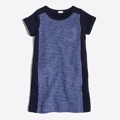 Girls' short-sleeve tweed panel sweatshirt dress