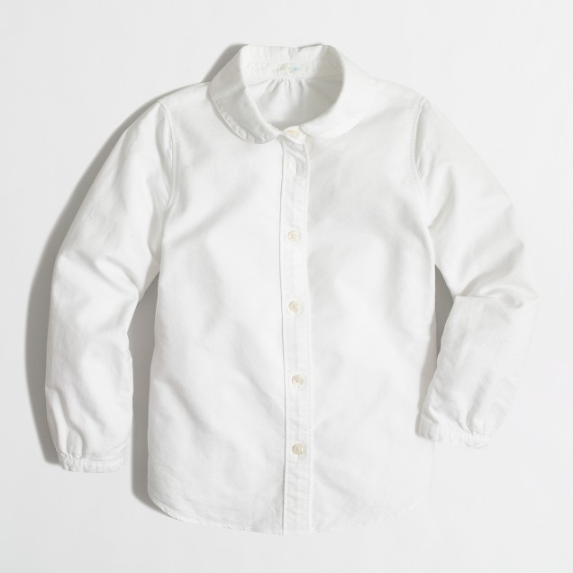 Girls' oxford Peter Pan collar shirt