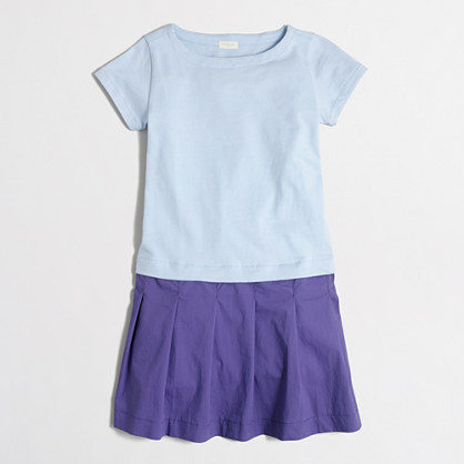 Girls' short-sleeve colorblock dress