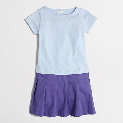 Girls' short-sleeve colorblock dress