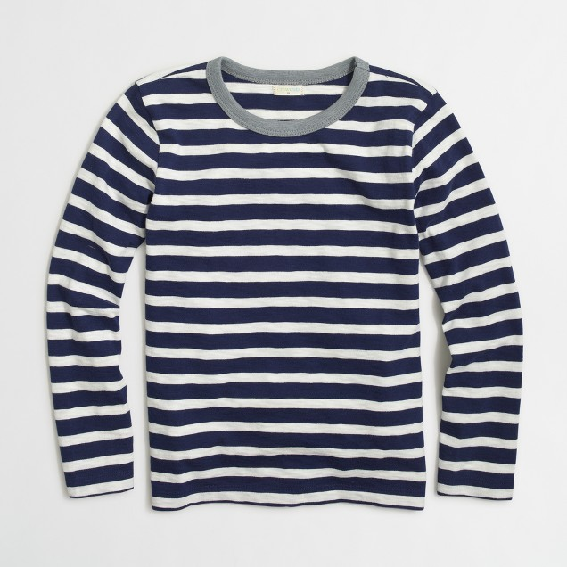 Boys' long-sleeve striped T-shirt with contrast ringer