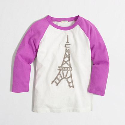Girls' long-sleeve Eiffel Tower keepsake T-shirt