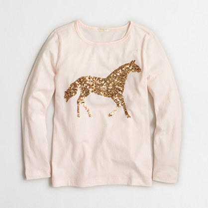 Girls' long-sleeve sequin horse keepsake T-shirt