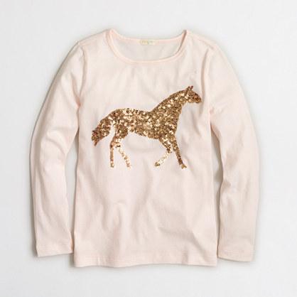 Girls' long-sleeve sequin horse keepsake T-shirt