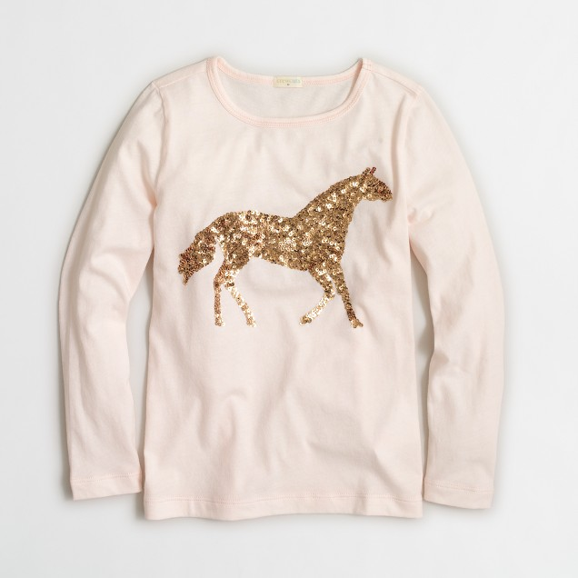 Girls 39 long sleeve sequin horse keepsake t shirt for Girls sequin t shirt