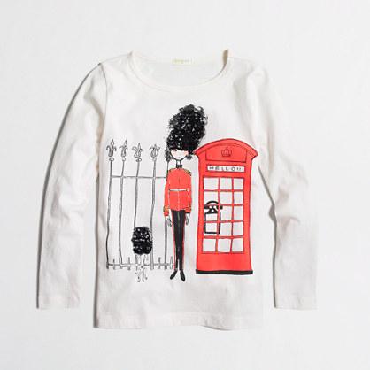 Girls' long-sleeve girl in London keepsake T-shirt