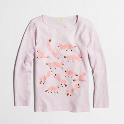 Girls' long-sleeve glitter foxes keepsake T-shirt