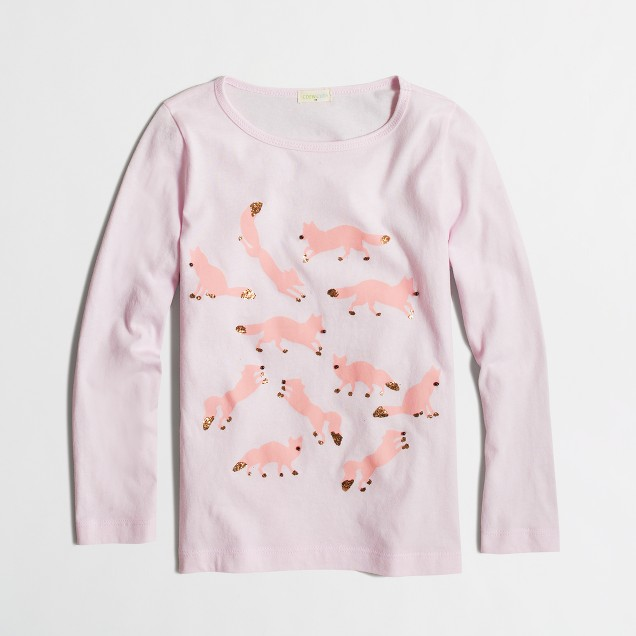Girls' long-sleeve glitter foxes keepsake T-shirt