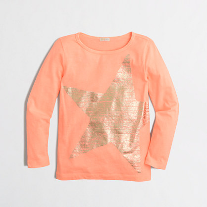 Girls' long-sleeve foil star T-shirt